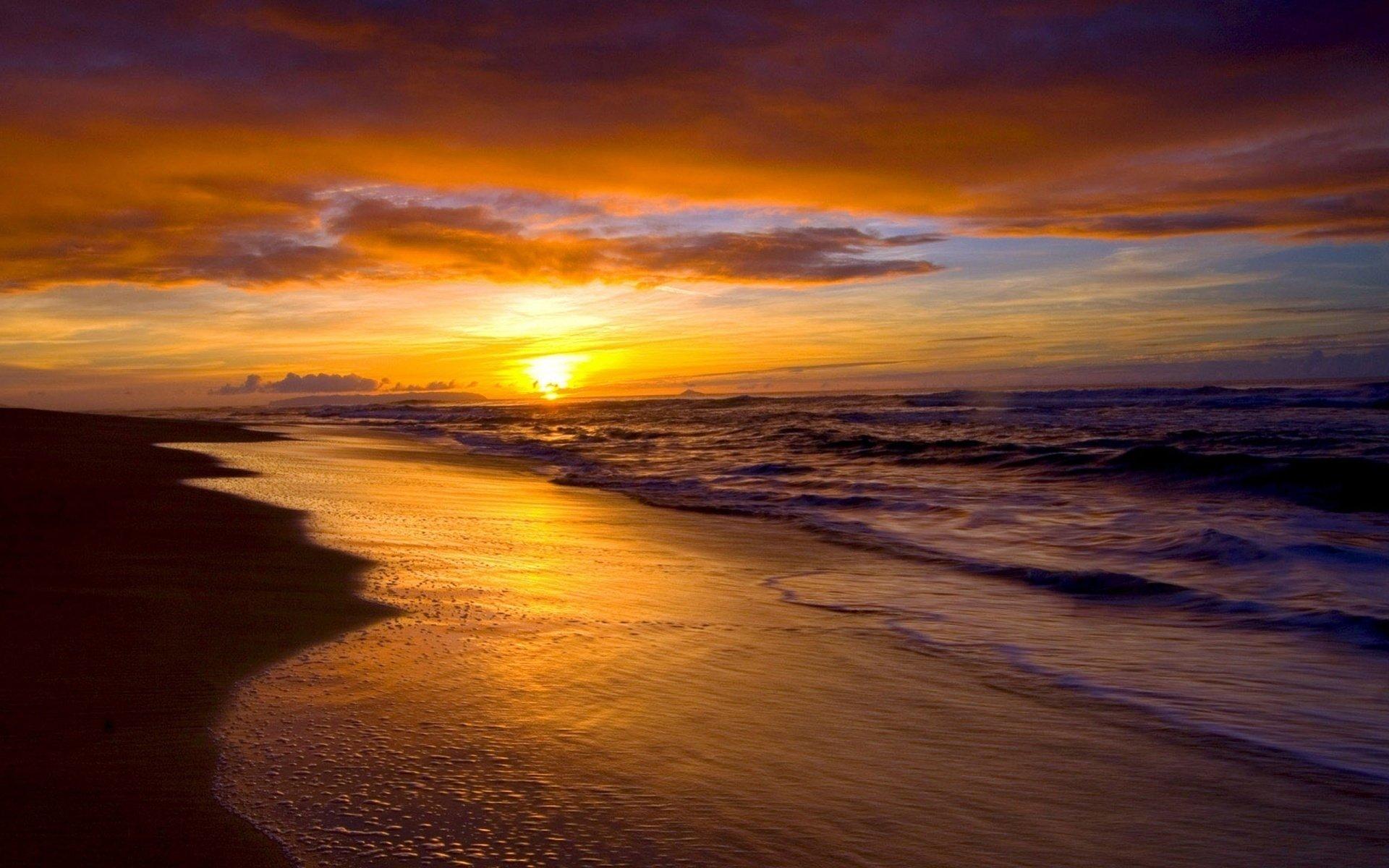 Terre/Nature - Plage  Horizon Terre/Nature Coucher De Soleil Océan Sea Nuage Fond d'écran