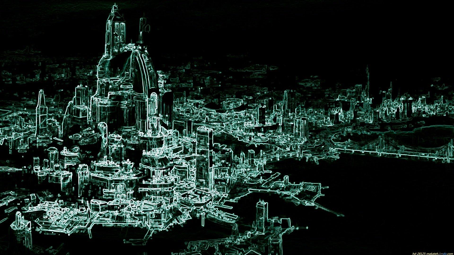 Sci Fi City Full HD Bakgrund and Bakgrund