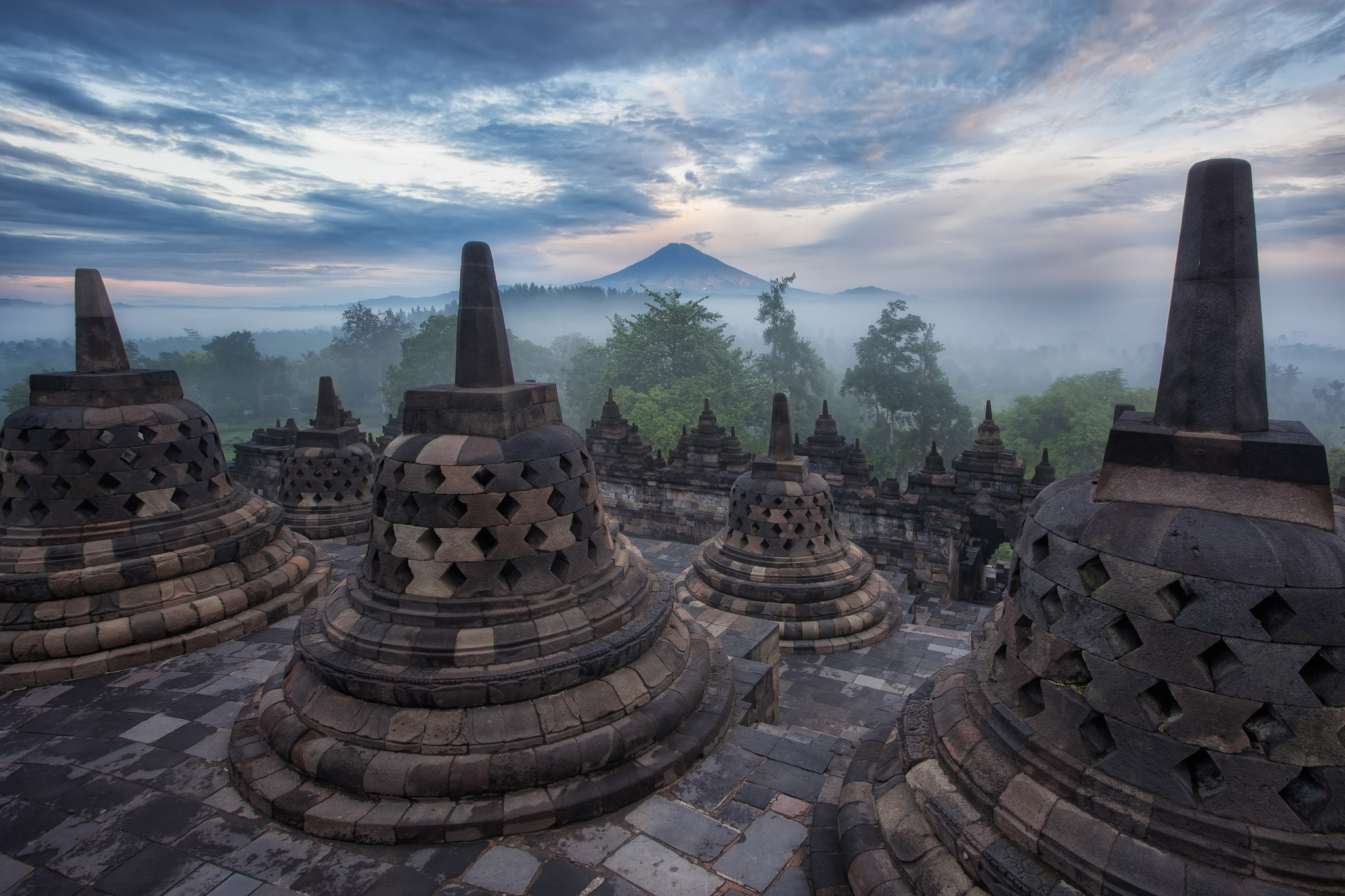 Borobudur Buddhist Temple In Magelang Central Java Indonesia Full
