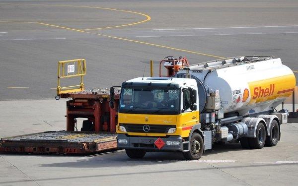 Vehicles Shell Vip Jet Tanker Mercedes Truck Tanker Mercedes-Benz Airport HD Wallpaper   Background Image