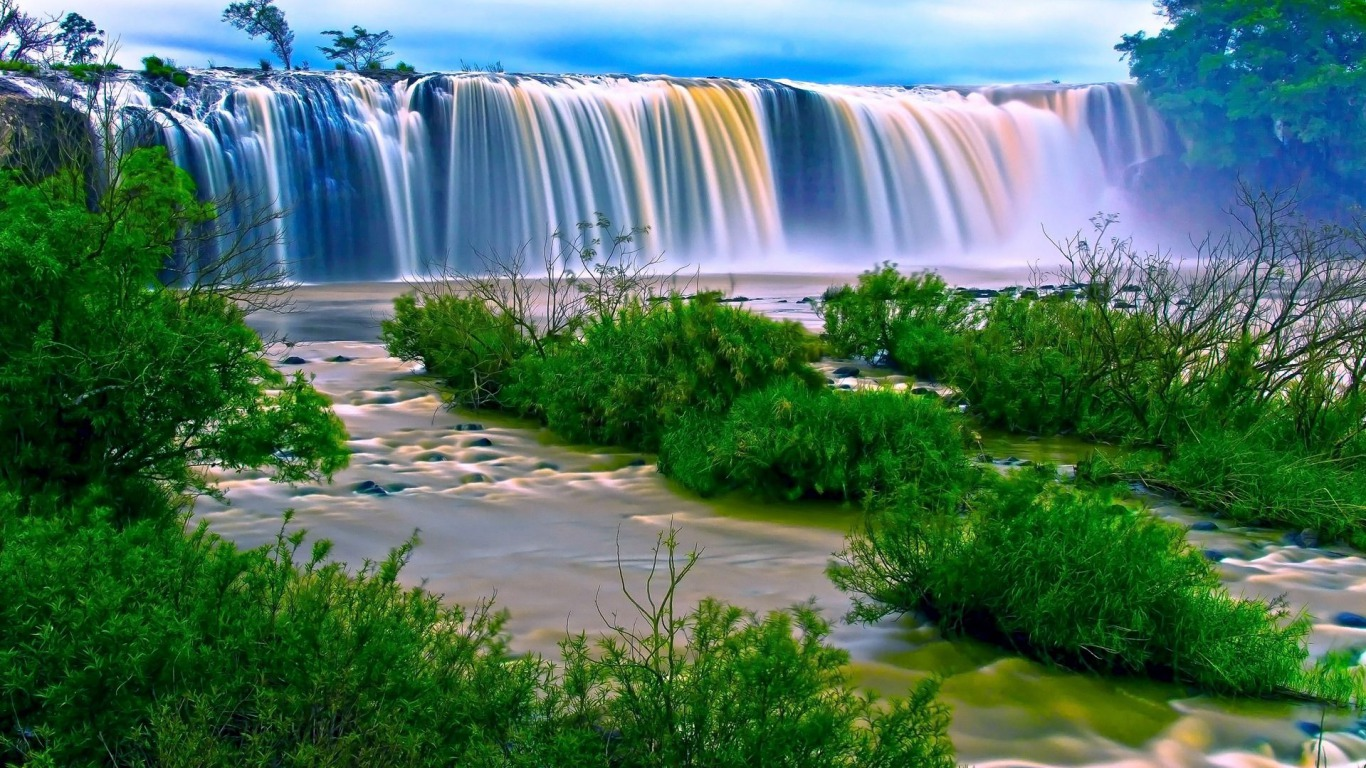 Rainbow Waterfall Wallpaper and Background Image   1366x768