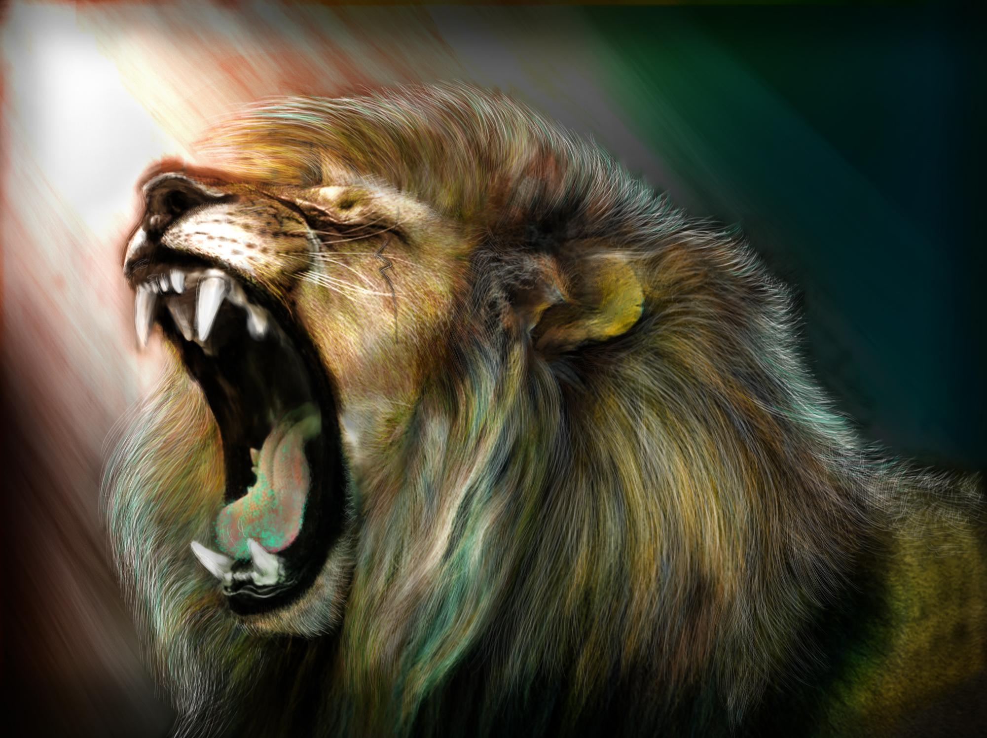 Обои на рабочий стол львы рычат