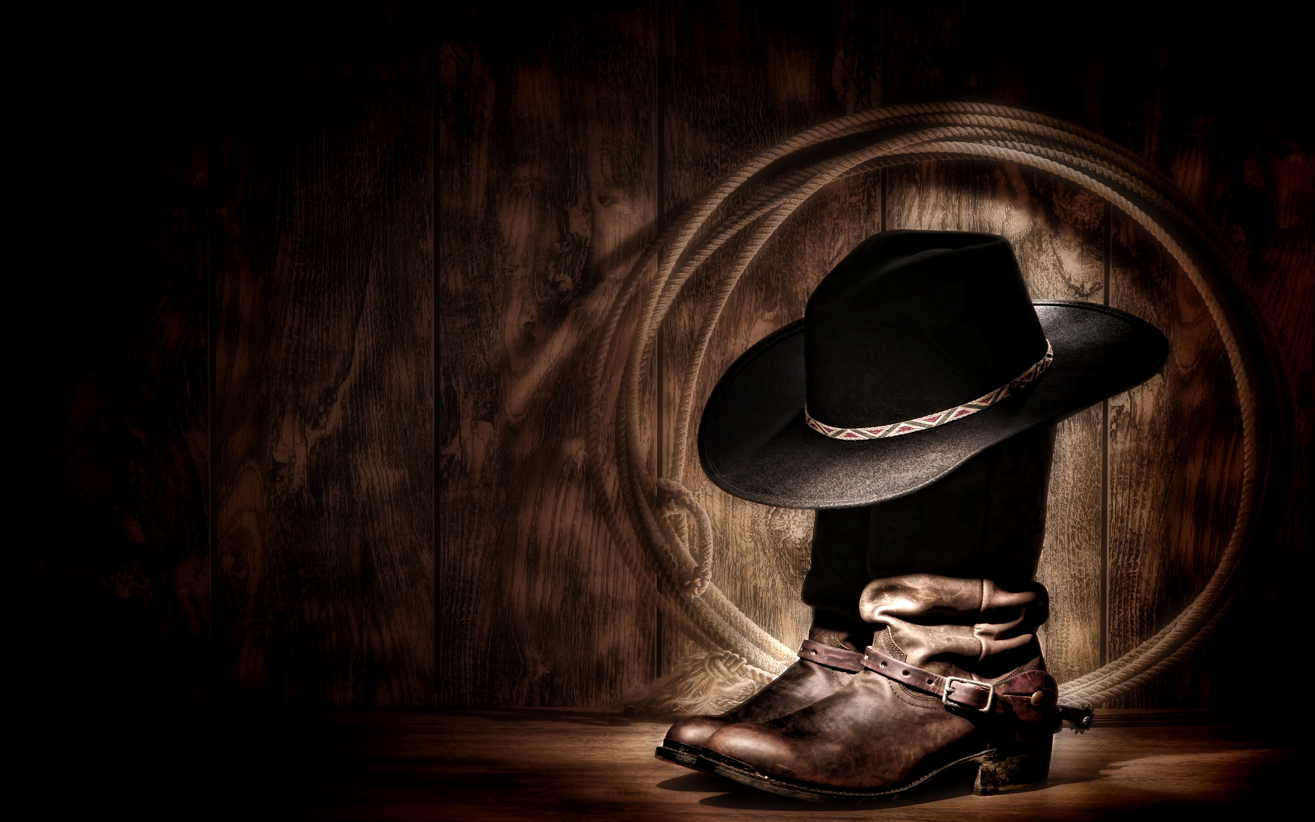 Cowboy Boots, Hat and Rope HD Wallpaper