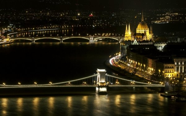 Man Made Budapest Cities Hungary Bridge River Chain Bridge Margaret Bridge HD Wallpaper | Background Image