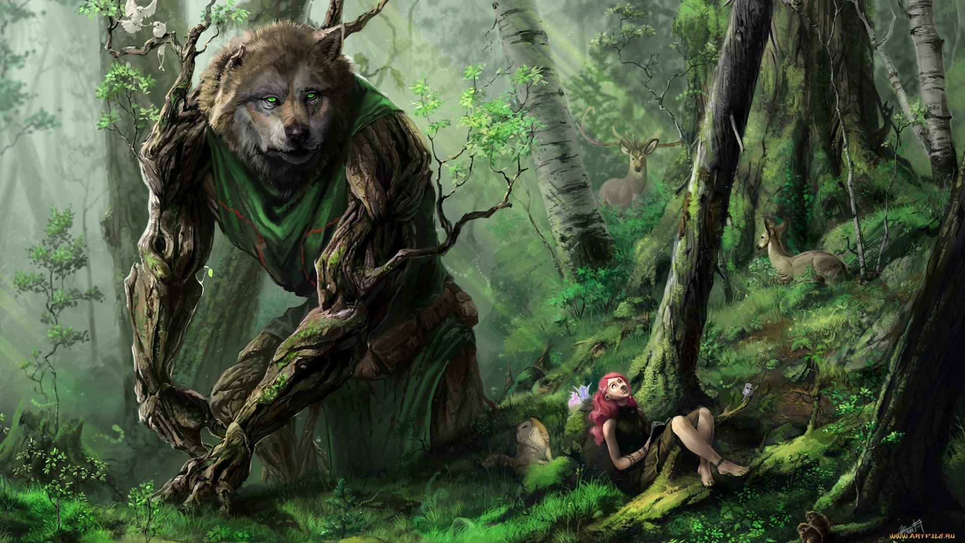 Fantasy - Creature  Artistic Wolf Giant Forest Girl Deer Wallpaper
