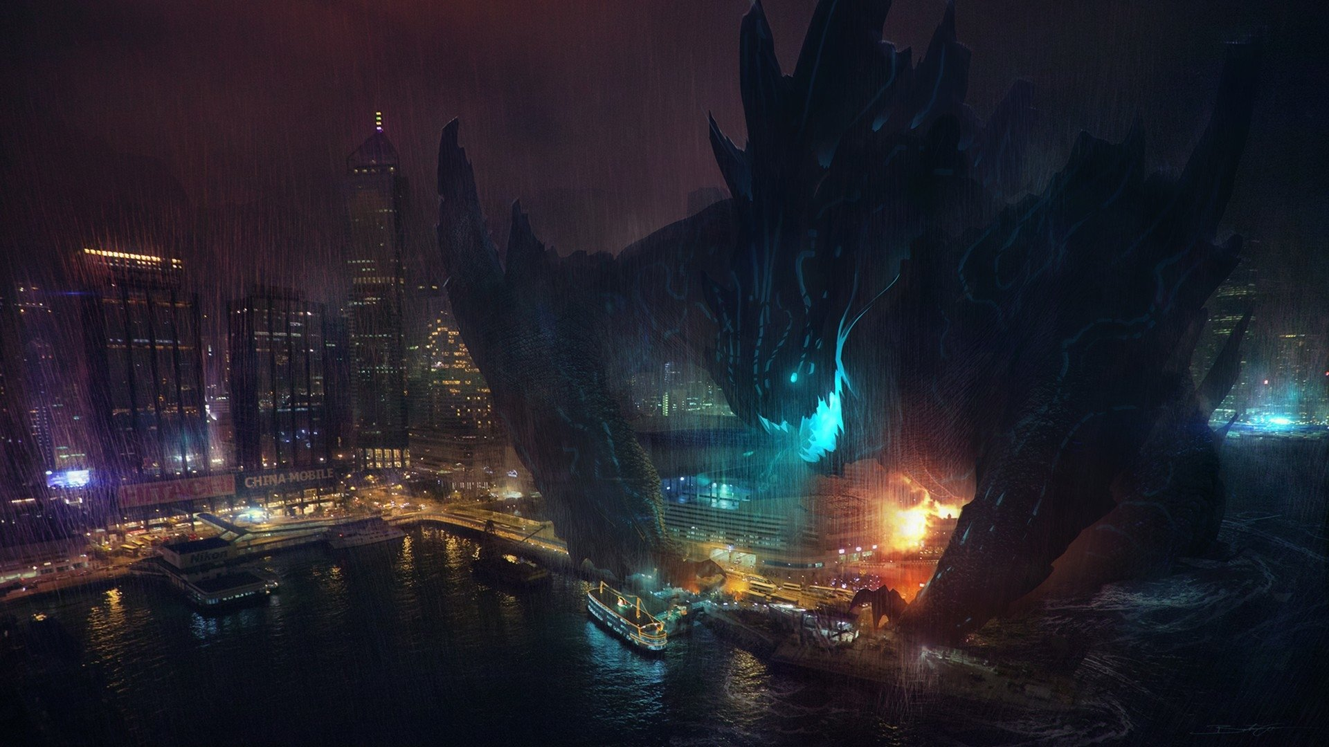 Movie - Pacific Rim  Landscape City Ocean Movie Wallpaper