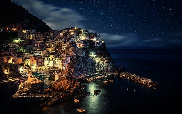 Man Made Manarola Towns Italy Ocean Night Cinque Terre HD Wallpaper | Background Image