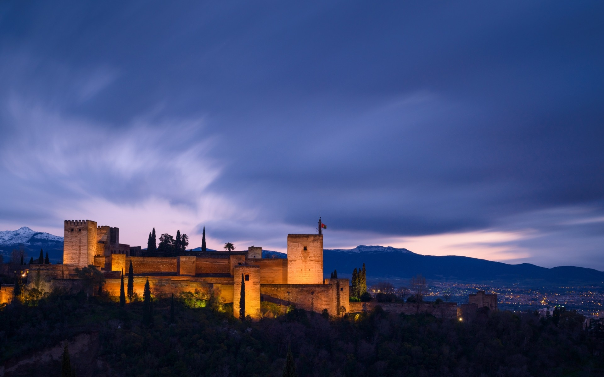 Spain Full Hd Wallpaper And Background Image: Granada-night-view Full HD Wallpaper And Background Image