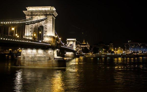 Man Made Chain Bridge Bridges Bridge Night Light City Budapest Danube Hungary HD Wallpaper | Background Image