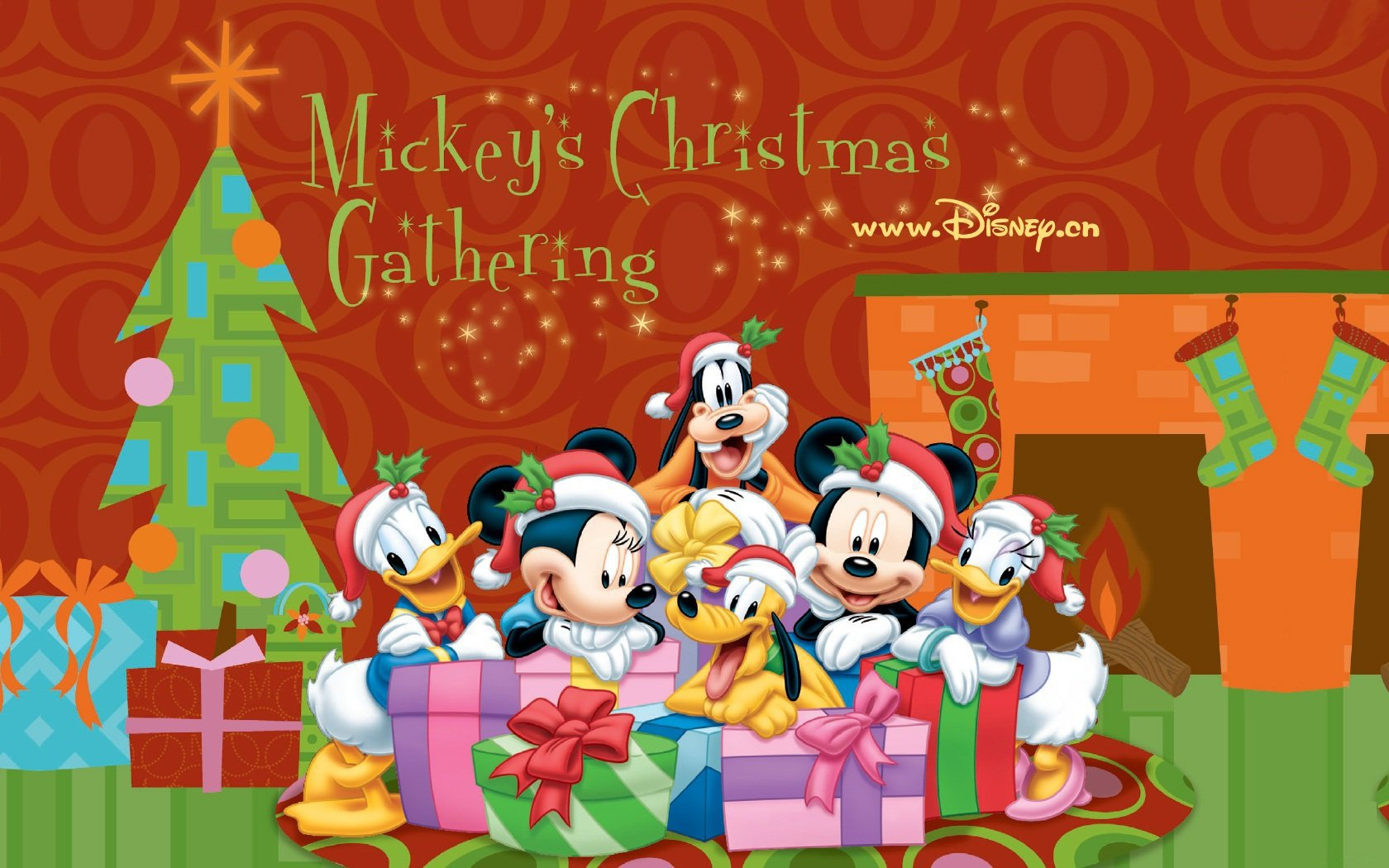 Holiday - Christmas  Merry Christmas Donald Duck Mickey Mouse Minnie Mouse Daisy Duck Goofy Wallpaper