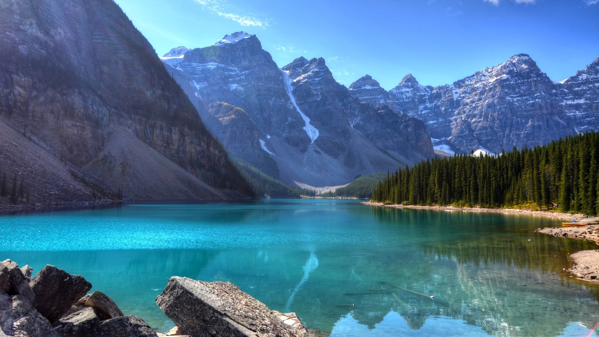 Earth - Moraine Lake  Banff National Park Alberta Canada Canadian Rockies Lake Mountain Reflection Cliff Wallpaper