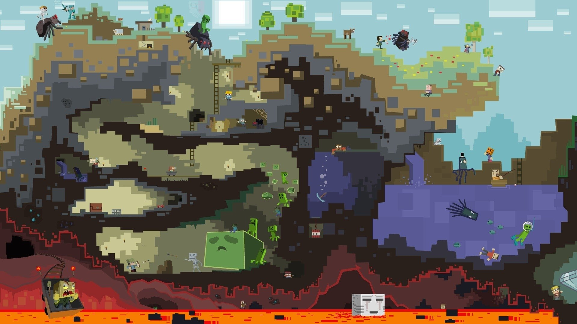 Minecraft Drawing Fond Décran Hd Arrière Plan 1920x1080