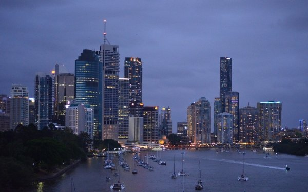 Construction Humaine Brisbane Métropoles Australie Rivière Dusk Ville Bateau Voilier Bâtiment Dock Queensland Lumière Fond d'écran HD | Image