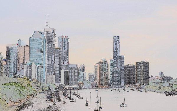 Man Made Brisbane Cities Australia Artistic Building City Boat Sketch Queensland HD Wallpaper | Background Image