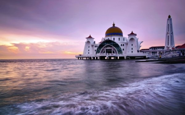 Religious Malacca Straits Mosque Mosques Mosque HD Wallpaper   Background Image