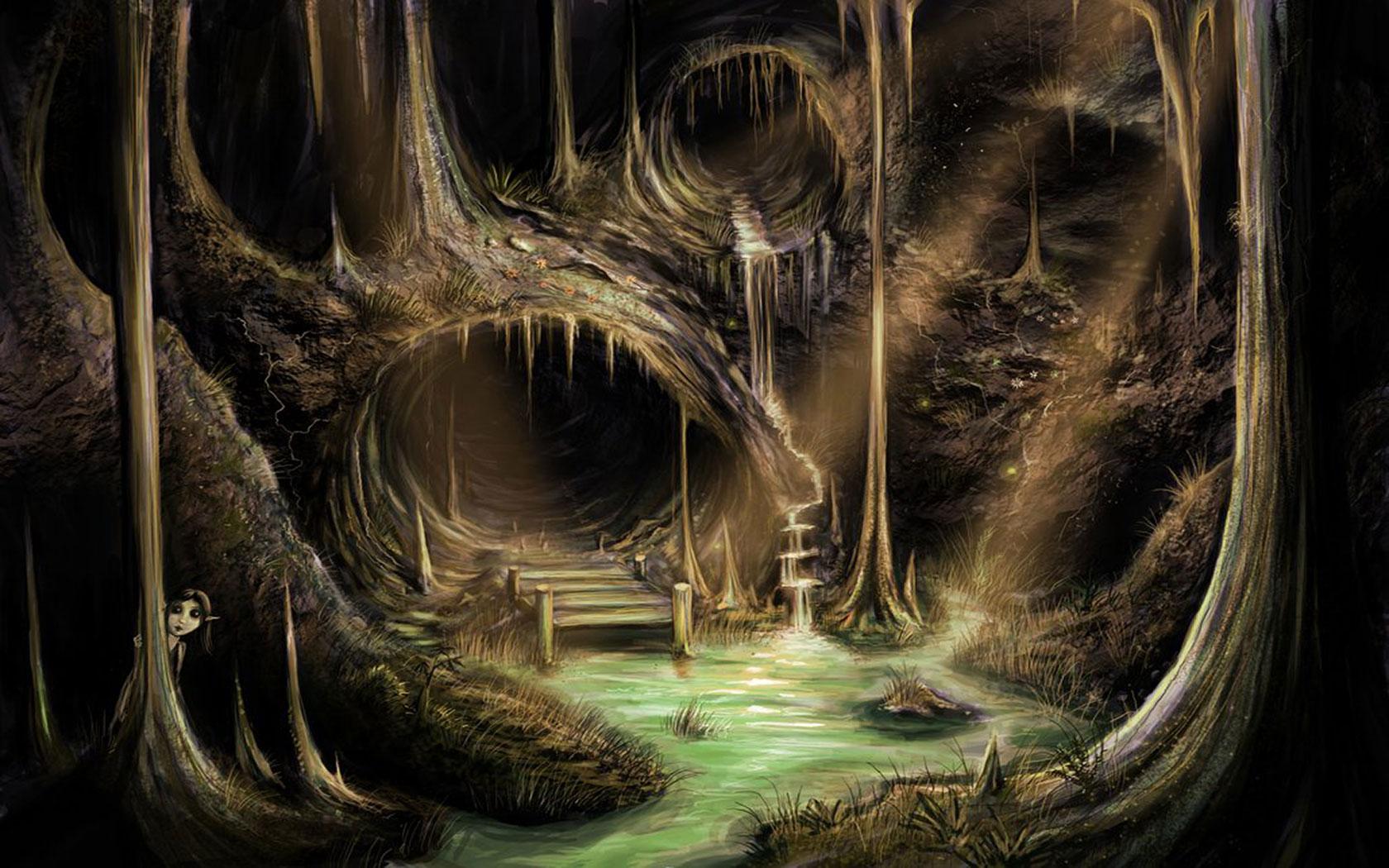 Illuminated Caves Computer Wallpaper