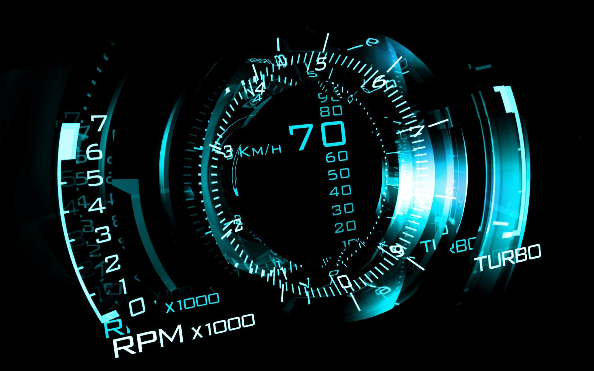 CGI - Other  Digital Blue CGI Speedometer Wallpaper