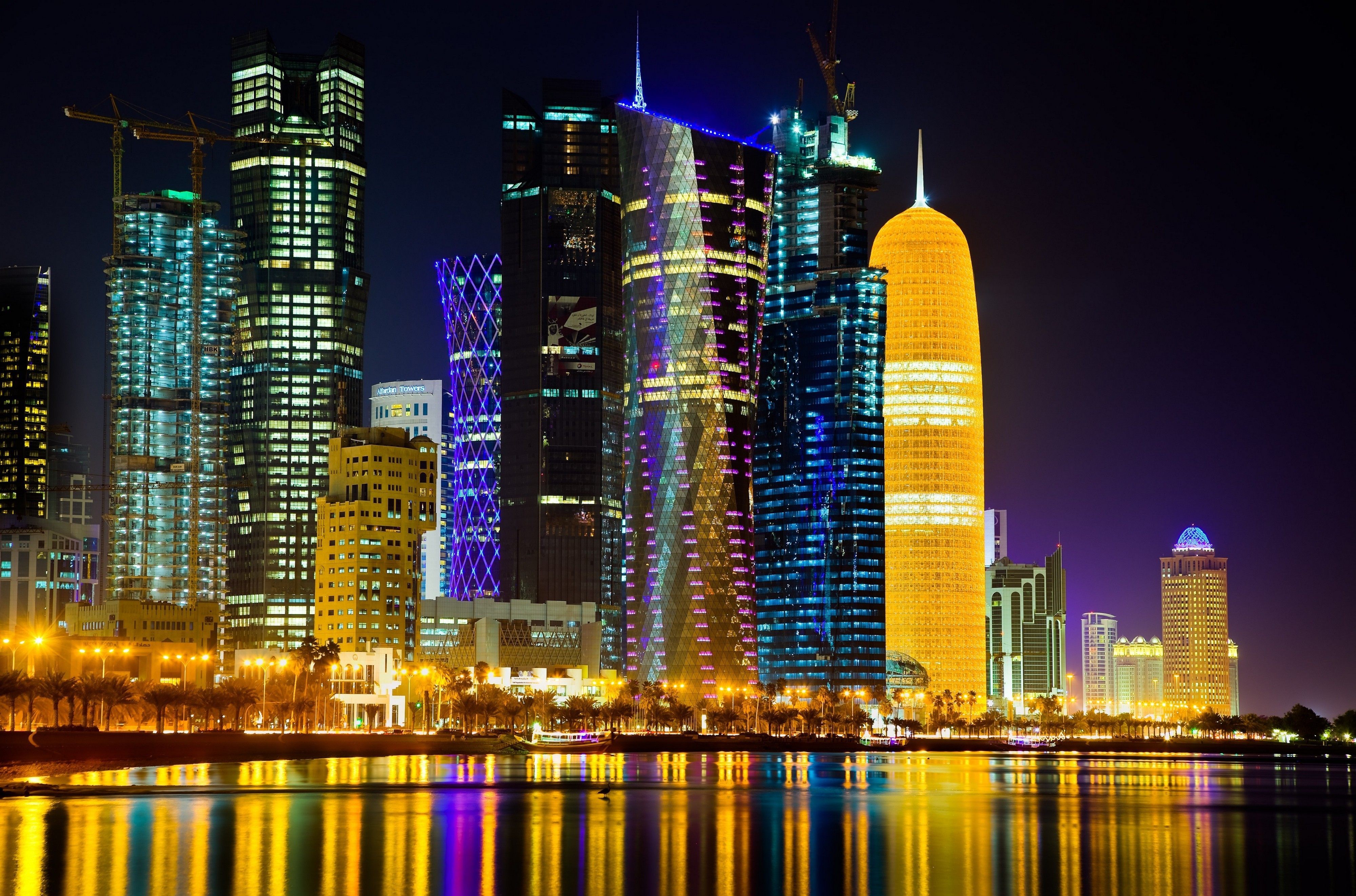 doha at night 4k ultra hd wallpaper background image 4000x2643 id 525764 wallpaper abyss. Black Bedroom Furniture Sets. Home Design Ideas