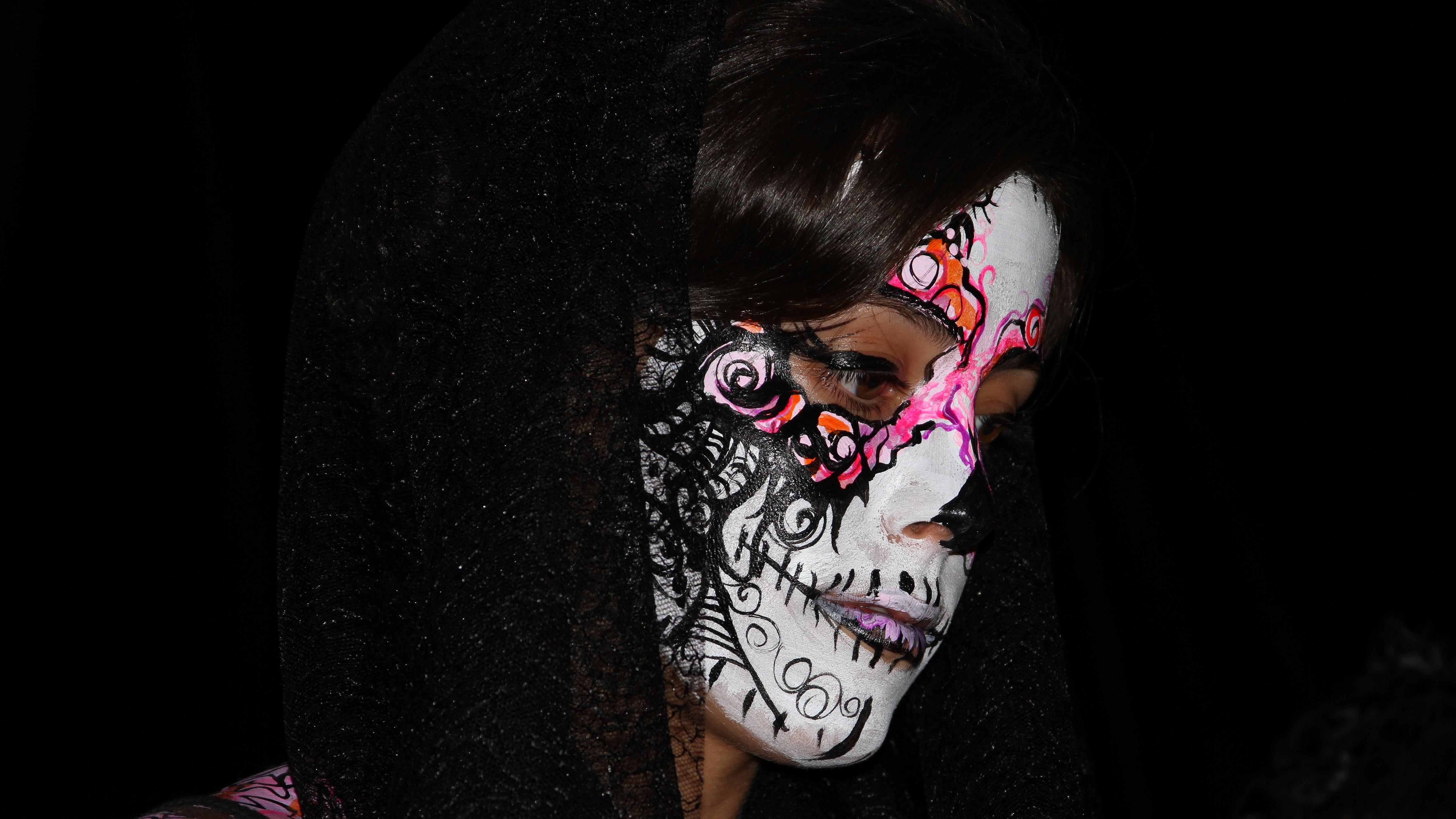 Sugar skull 5k retina ultra hd wallpaper background image 5200x2925 id 530850 wallpaper - Sugar skull background ...