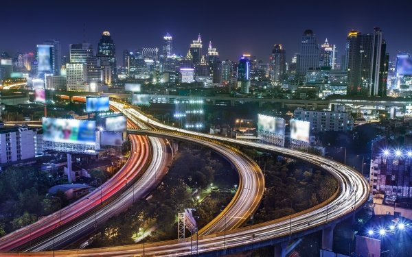 Man Made Bangkok Cities Thailand Time-Lapse HD Wallpaper | Background Image