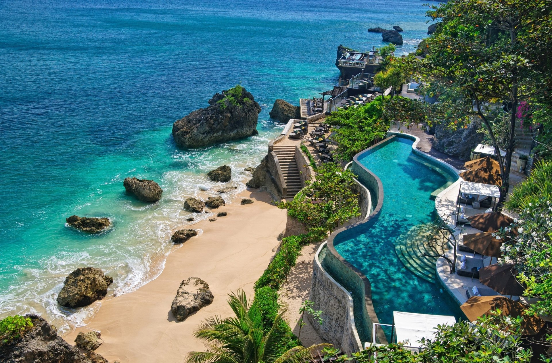 Man Made - Resort  Ayana Bali Indonesia Man Made Tropical Beach Ocean Pool Wallpaper
