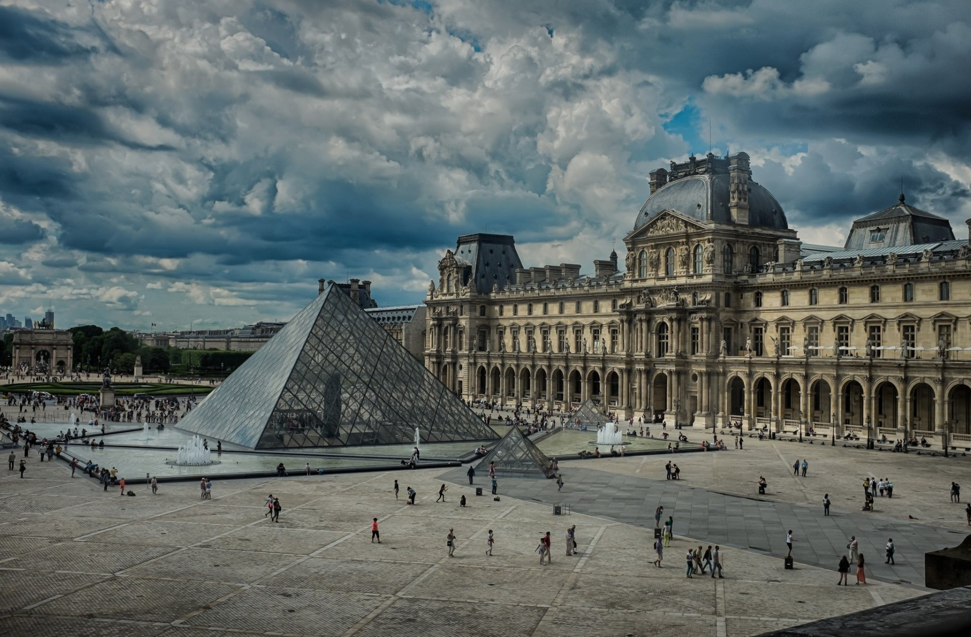 Man Made - The Louvre  Louvre Paris France Square Pyramid Cloud Wallpaper