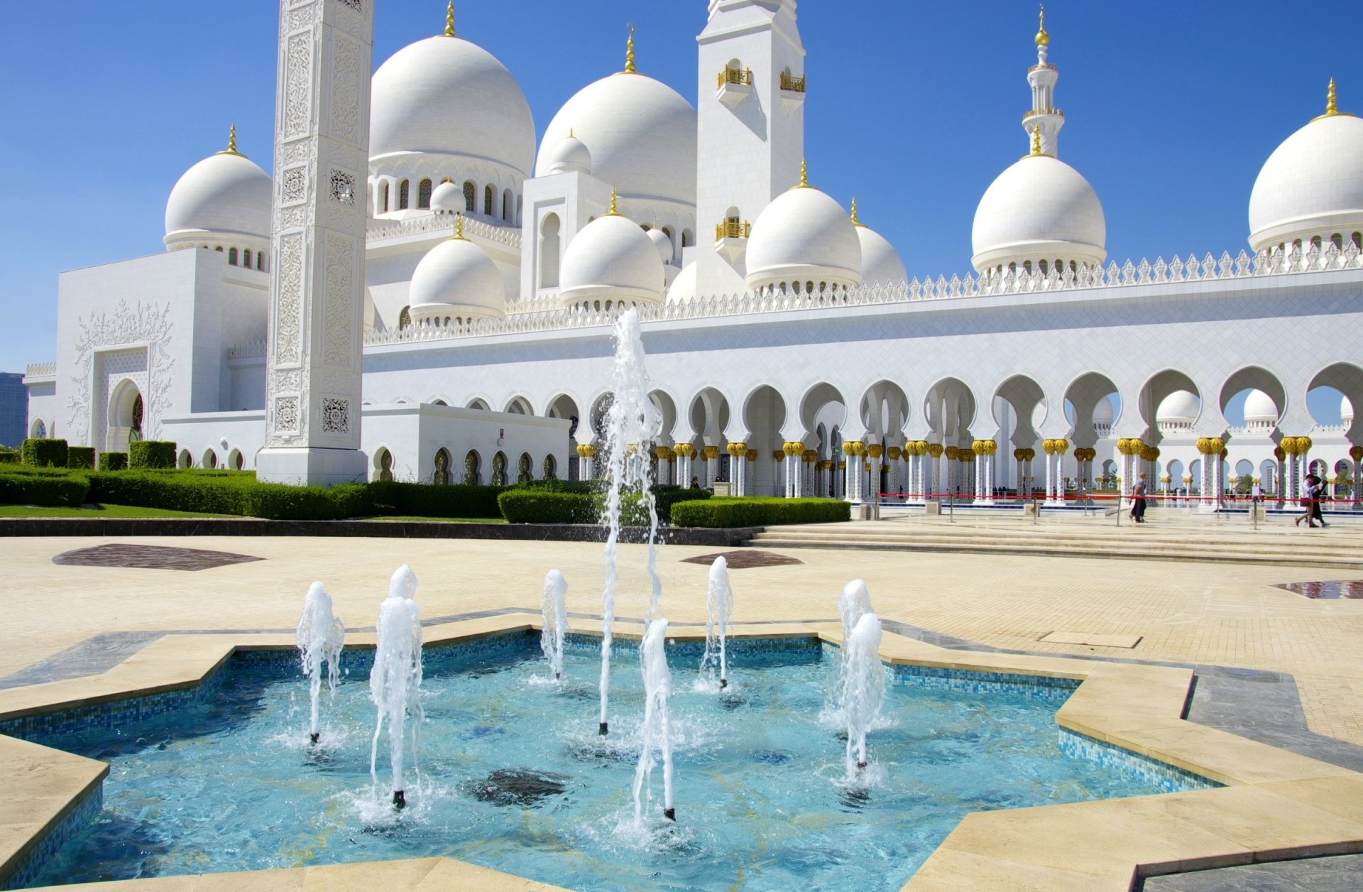 Religious - Sheikh Zayed Grand Mosque  Abu Dhabi United Arab Emirates Fountain Wallpaper