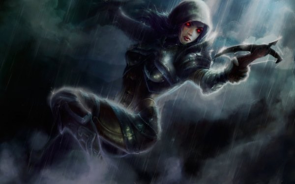 Video Game Diablo III Diablo Demon Hunter Fantasy Woman Warrior Dark Red Eyes Weapon HD Wallpaper   Background Image