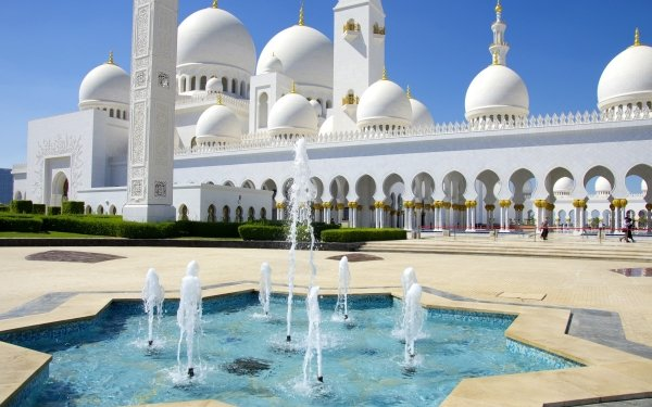 Religious Sheikh Zayed Grand Mosque Mosques Abu Dhabi United Arab Emirates Fountain HD Wallpaper | Background Image
