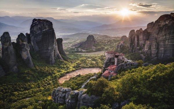 Religious Meteora Greece Monastery Landscape HD Wallpaper | Background Image