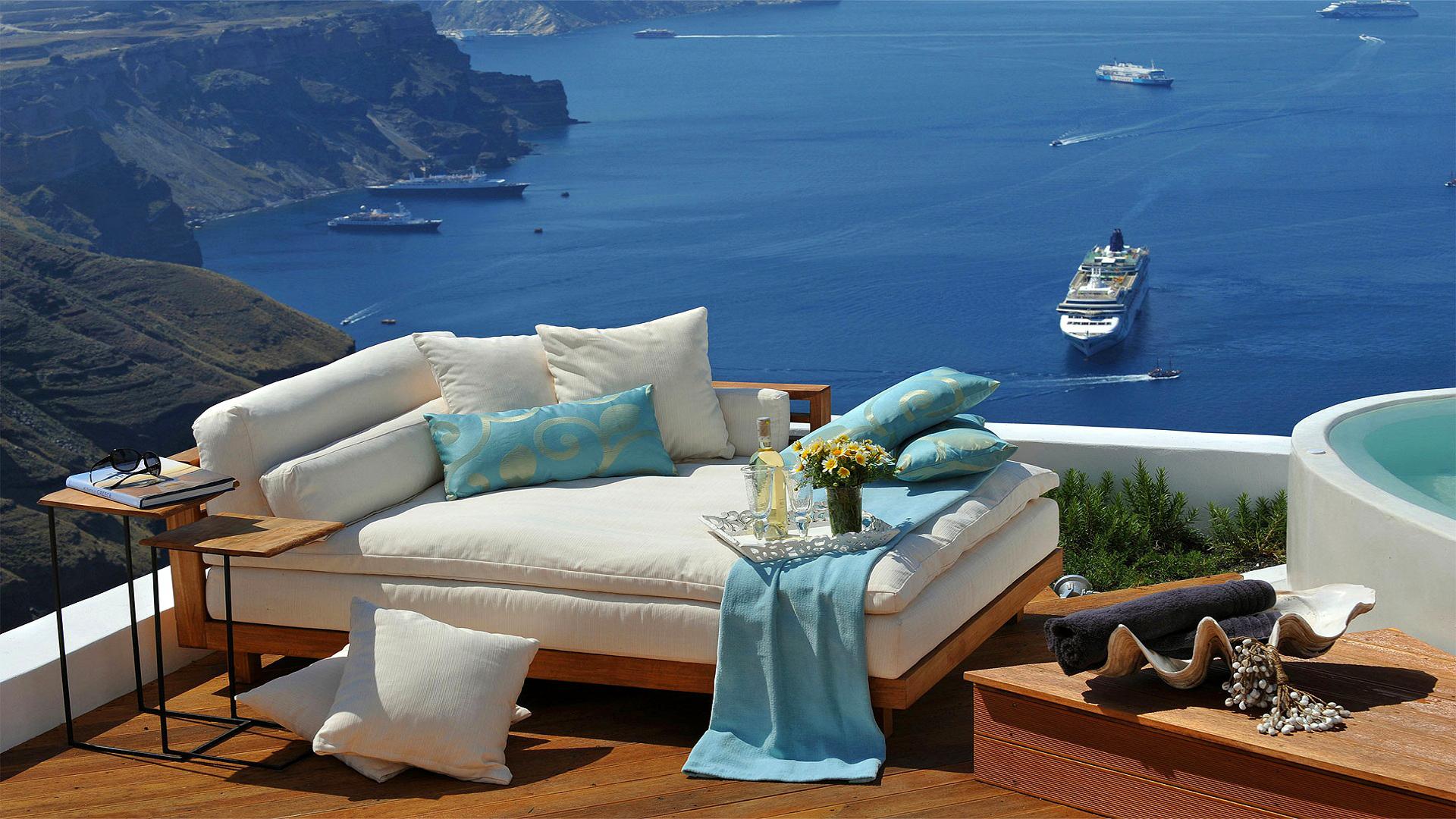 Photography - Holiday Santorini Greece Sofa Ship Lounge Pillow Ocean Cruise Ship Cushion Wallpaper
