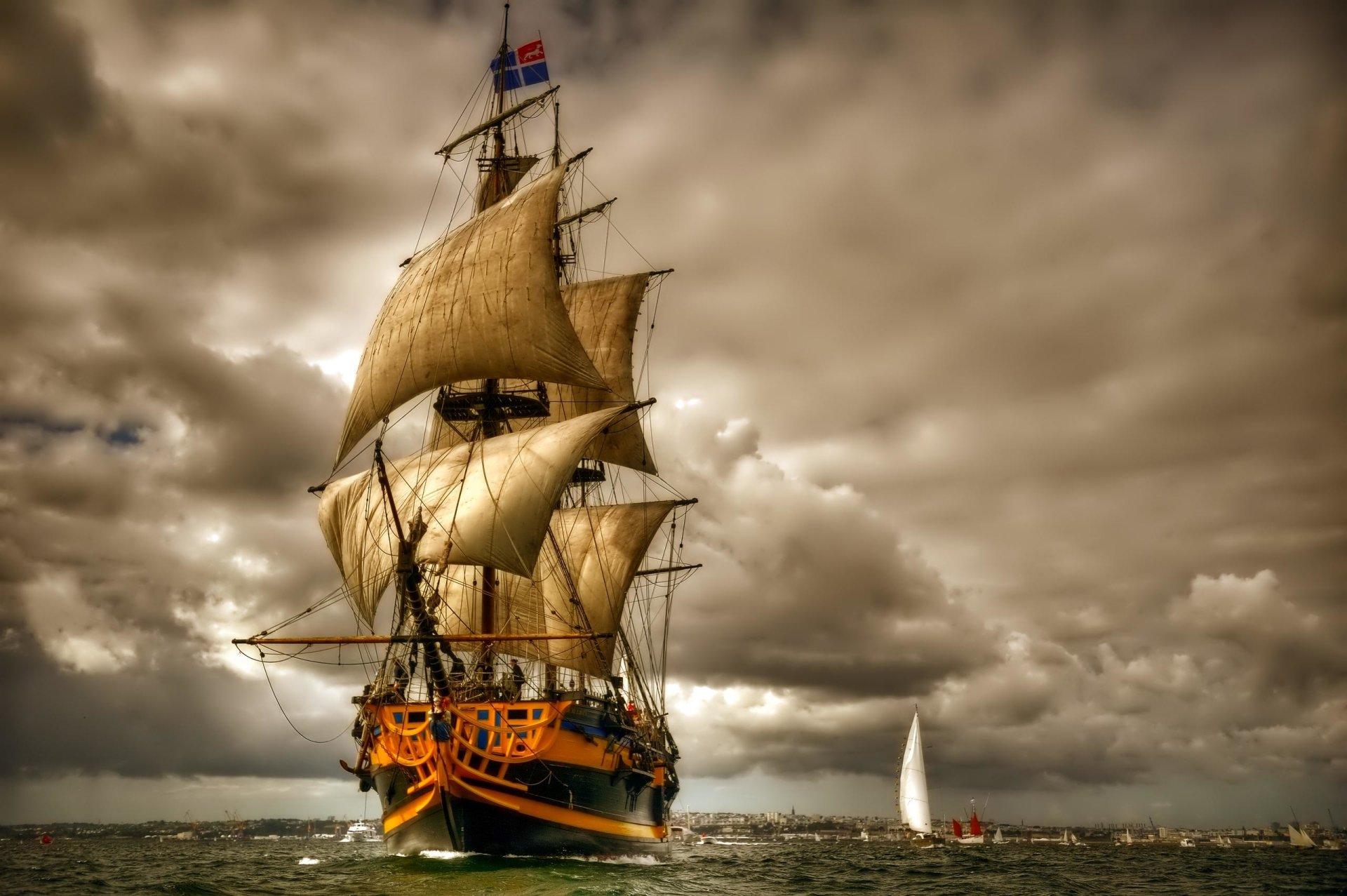 Vehicles - Sailing Ship  Sky Ship Boat Vehicle Sailing Cloud Sailboat Sea Ocean Sail Wallpaper