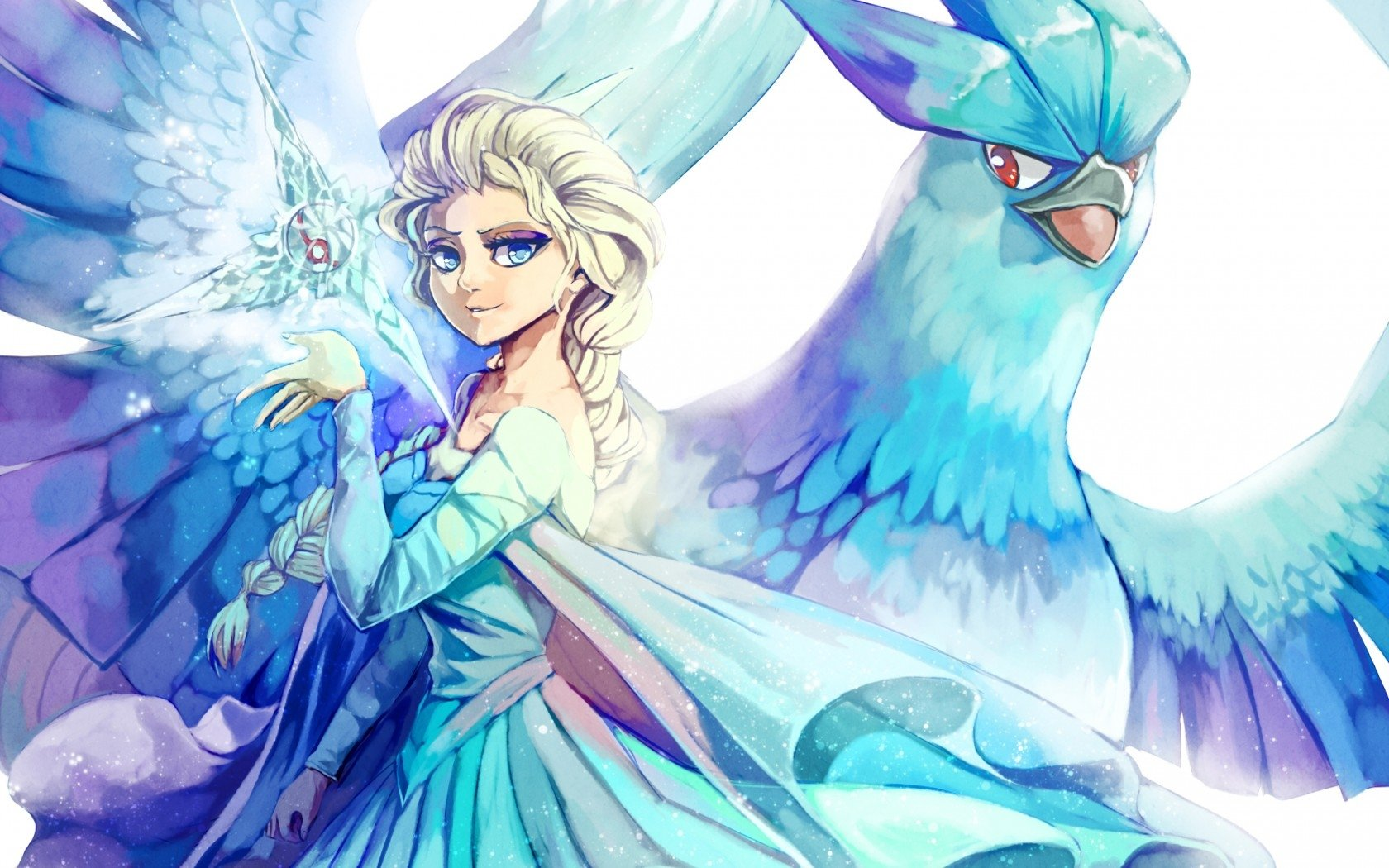 Movie - Crossover  Elsa (Frozen) Frozen (Movie) Articuno (Pokémon) Wallpaper