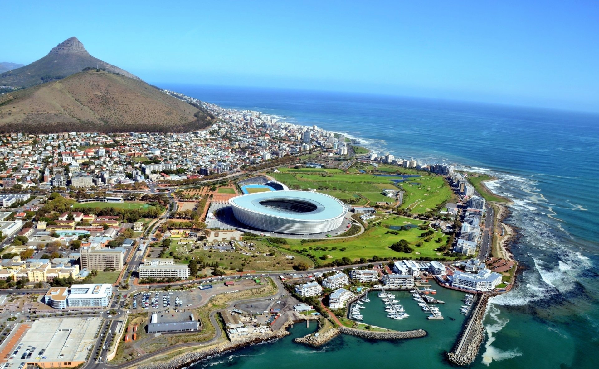 Man Made - Cape Town  Sea Seside Mountain Stadium Africa South Africa Wallpaper