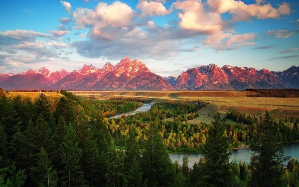 Earth The Teton Range Mountains Landscape Mountain River Wood Cloud Grand Teton National Park Wyoming Nature Tree Forest HD Wallpaper | Background Image