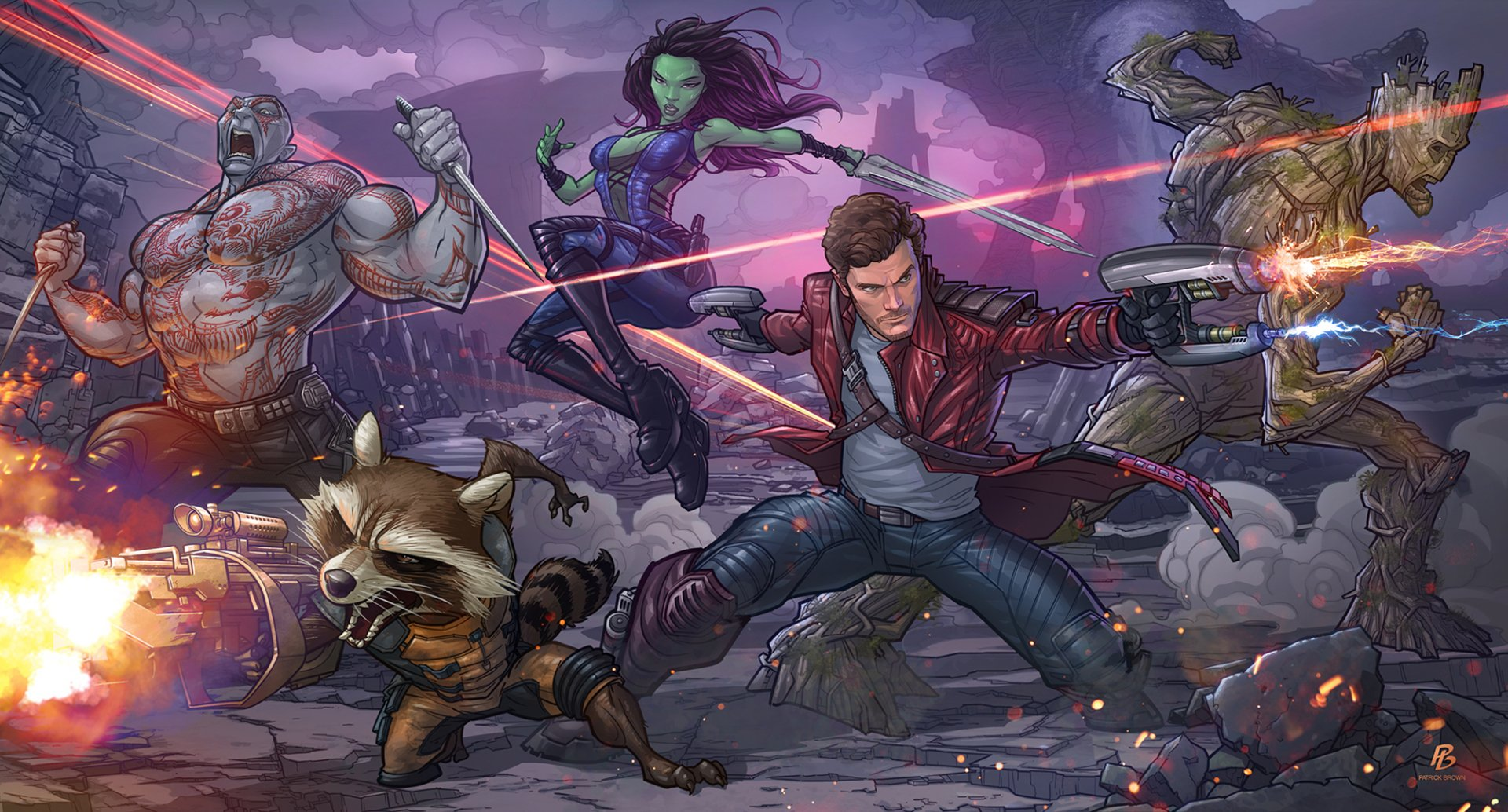 Comics - Guardians Of The Galaxy  Gamora Drax The Destroyer Peter Quill Rocket Raccoon Groot Comic Comics Galaxy Marvel Comics Rocket Star Lord Wallpaper
