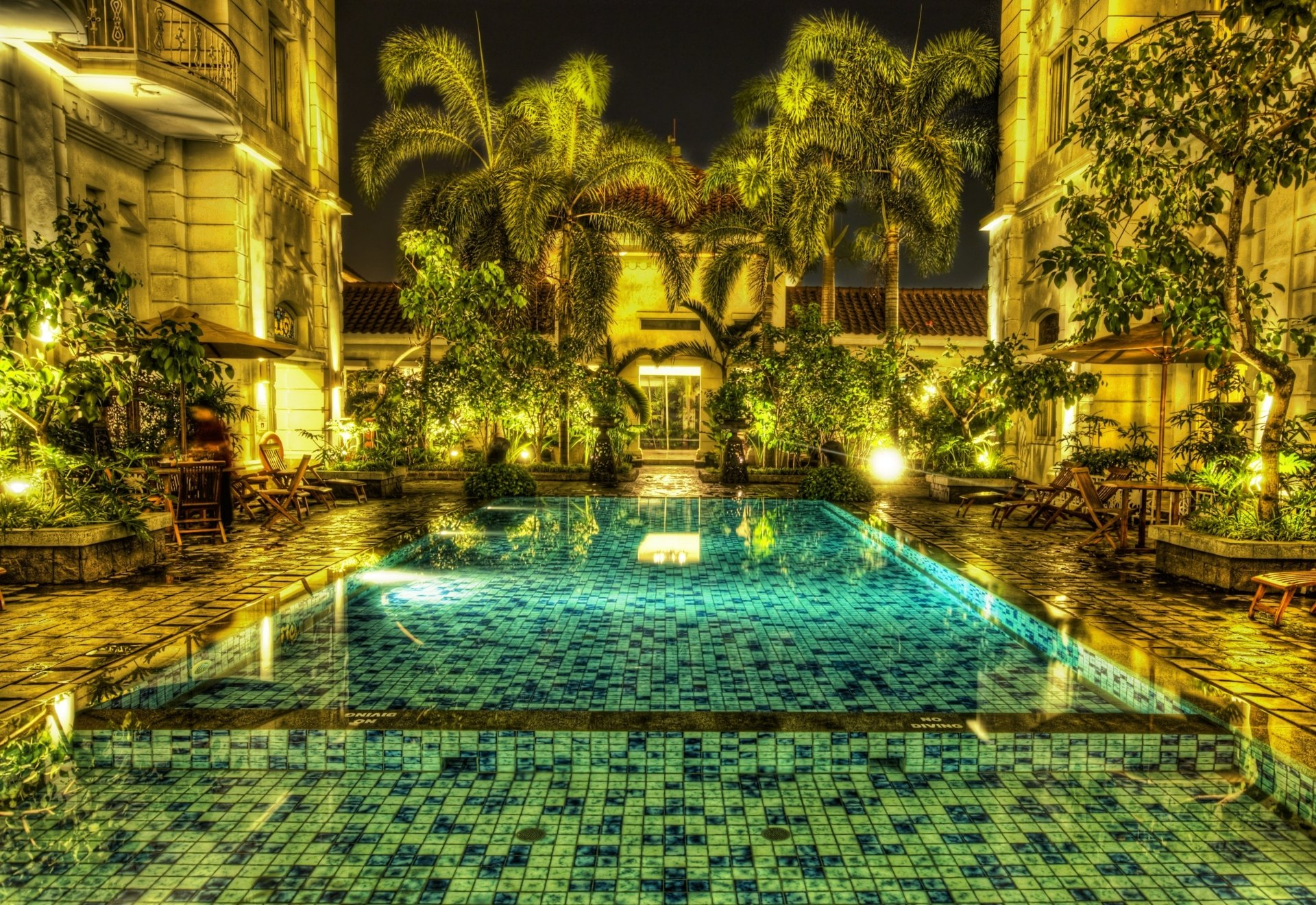Photography - HDR  Pool Jakarta Indonesia Palm Tree Mosaic Wallpaper