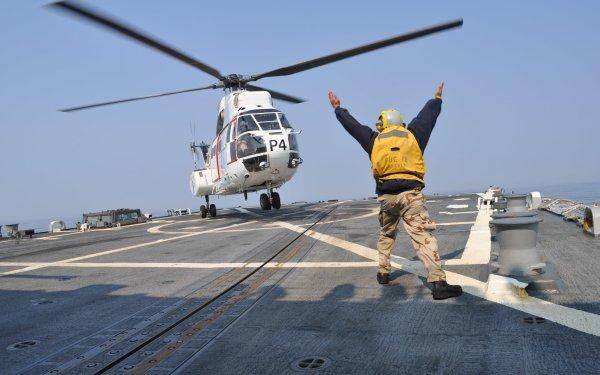 Military Aérospatiale SA 330 Puma Military Helicopters Helicopter Aérospatiale USS Preble Navy Vehicle Marines HD Wallpaper   Background Image