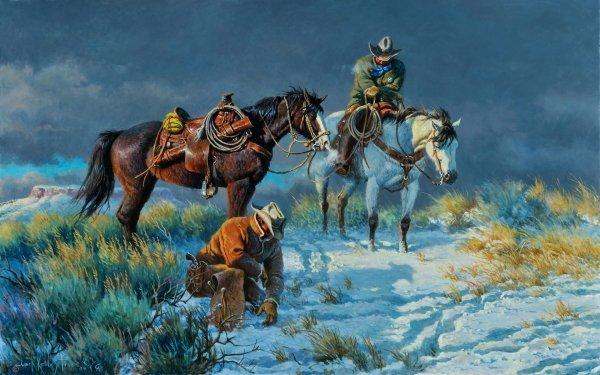 Artistic Painting Horse Cowboy Snow Gun HD Wallpaper | Background Image
