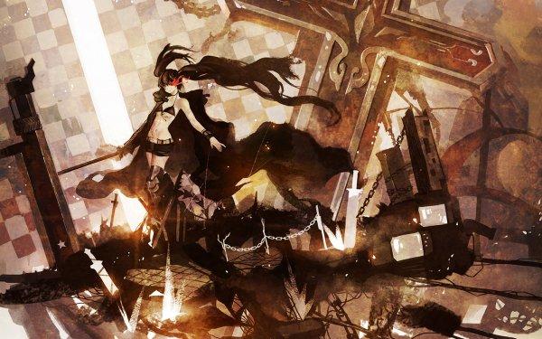 Anime Black Rock Shooter Black Hair Red Eyes Crucifix HD Wallpaper | Background Image