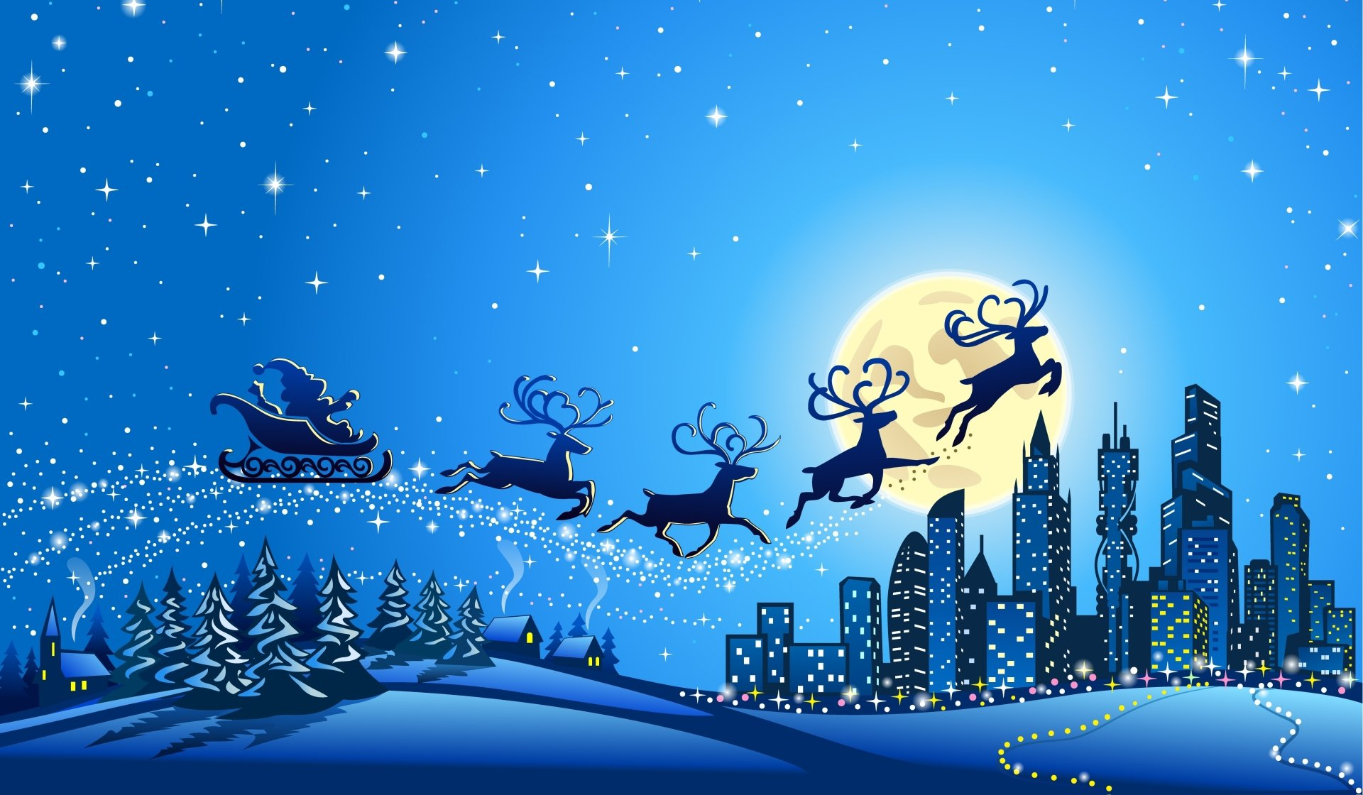 节日 - 圣诞节  Santa Sleigh Reindeer 壁纸