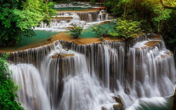 Earth Huai Mae Kamin Waterfall Waterfalls Waterfall Thailand Tropics Erawan National Park Erawan Waterfall HD Wallpaper | Background Image