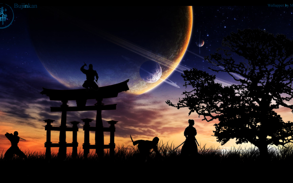 Artístico Ninja Artes Marciales Árbol Amanecer Espacio Planeta Cielo Asiática Fondo de pantalla HD | Fondo de Escritorio