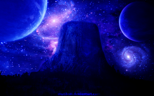 Sci Fi Space Devils Tower Planet Galaxy HD Wallpaper | Background Image
