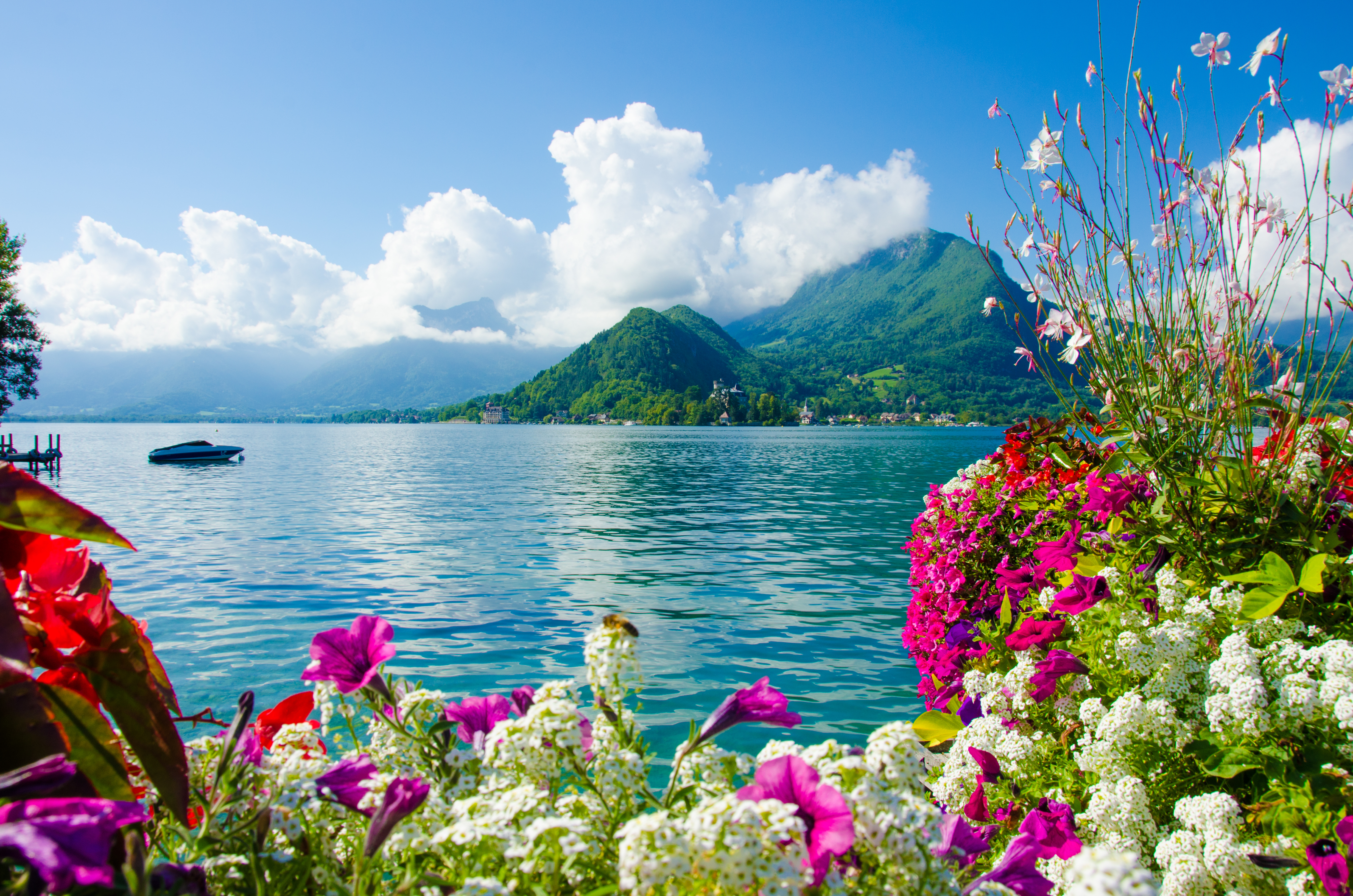 Earth summer flower blossom cloud mountain wallpaper - Beautiful panoramic view house to take full advantage of the scenery ...