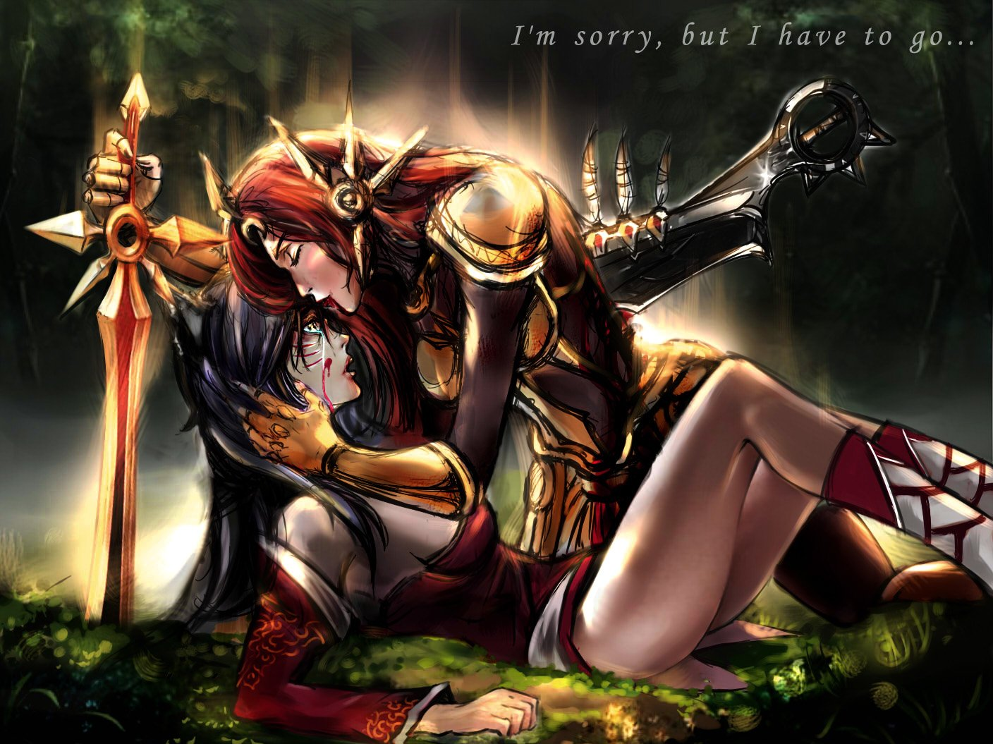 Video Game - League Of Legends  Ahri (League Of Legends) Leona (League Of Legends) Sword Weapon Armor Kiss Tears Blood Wound Wallpaper