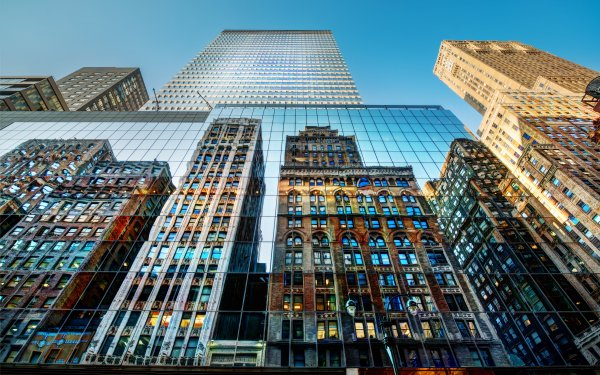 Man Made New York Cities United States Architecture Building Place Skyscraper Reflection HD Wallpaper | Background Image