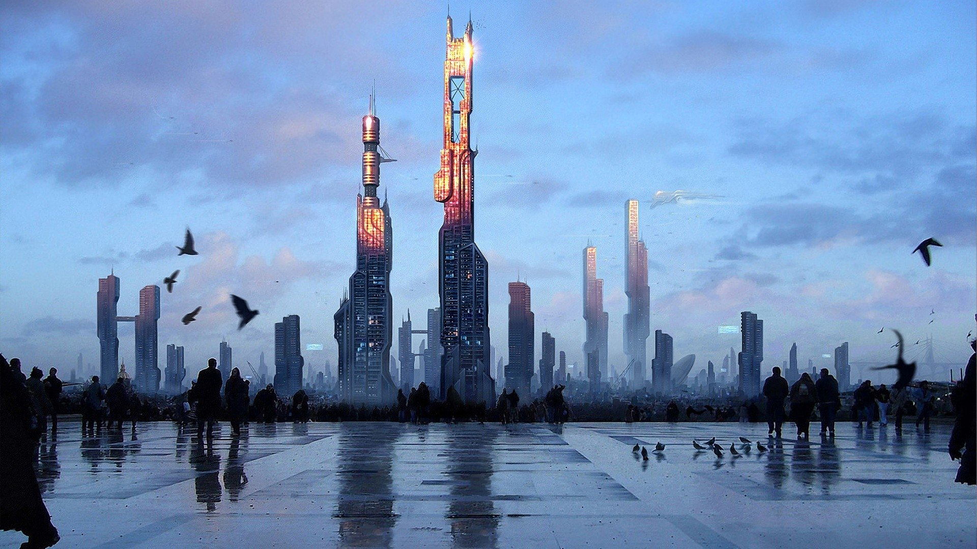Sci Fi - City  Building Cityscape Digital Art Futuristic Paris Pigeon Sky Wallpaper