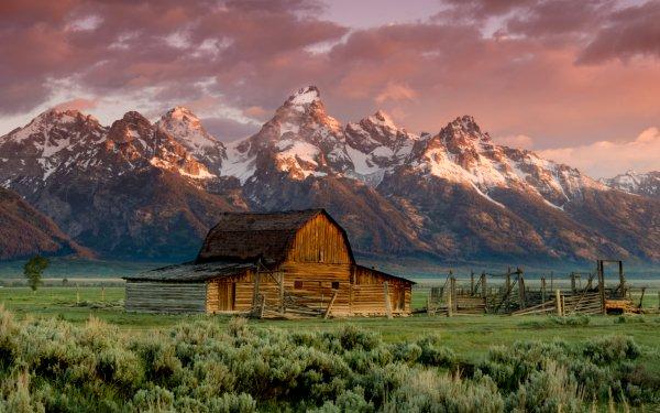 Earth The Teton Range Mountains Grand Teton National Park Mountain Barn Landscape Wyoming HD Wallpaper | Background Image