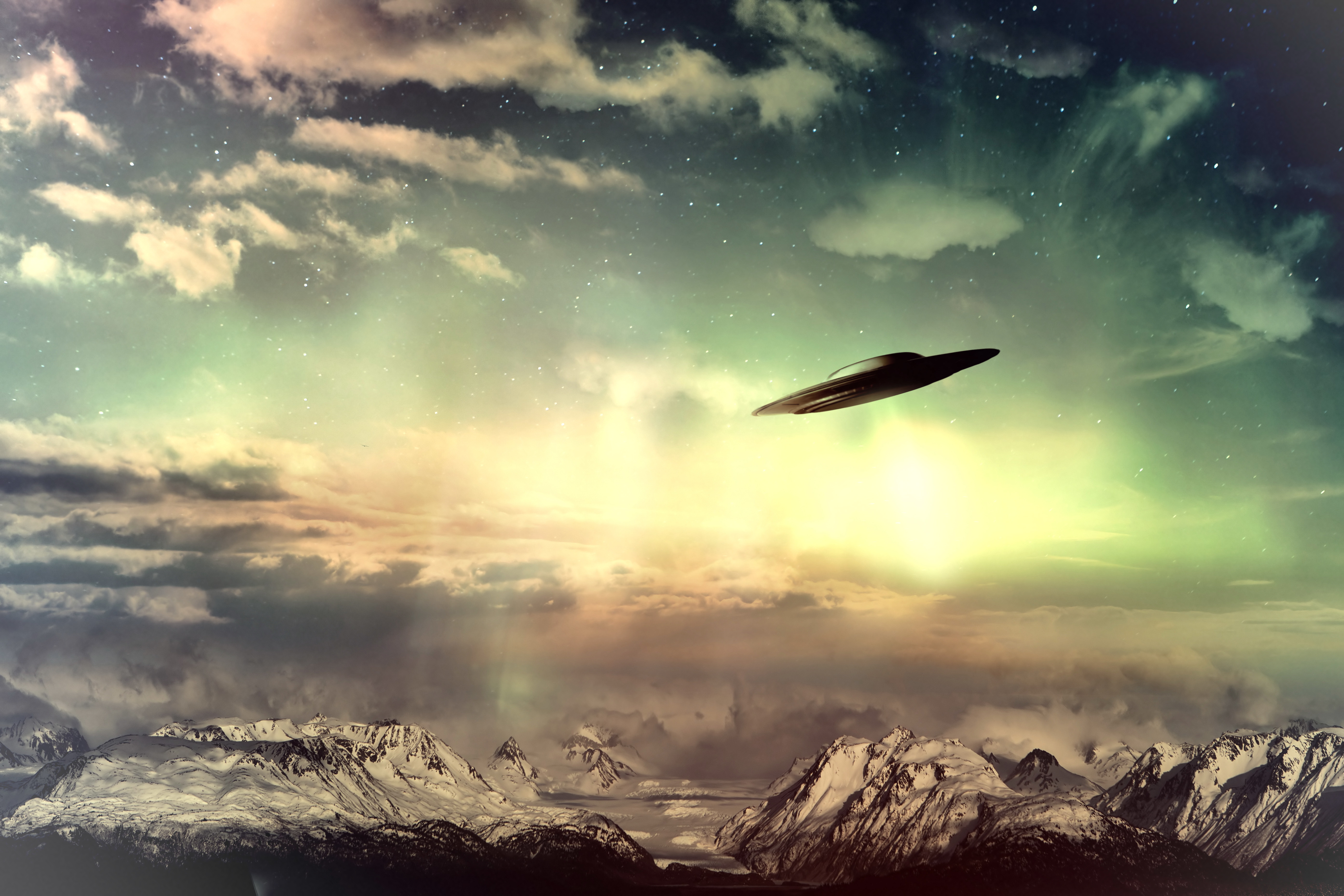 UFO In Surreal Sky 5k Retina Ultra HD Wallpaper And Background Image